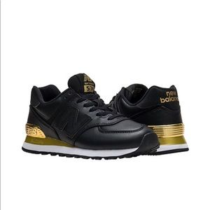 NEW New Balance 574 Black and Gold Sneakers